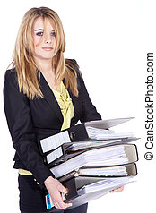 Business woman brings folder