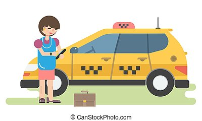 Business woman calls a taxi by phone