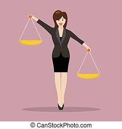 Business woman carrying a balance scale with both hands