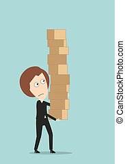 Business woman carrying a giant pile of boxes