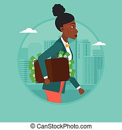 Business woman carrying briefcase full of money.