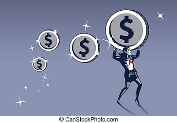 Business Woman Carrying Heavy Coins with Maximum Effort. ...