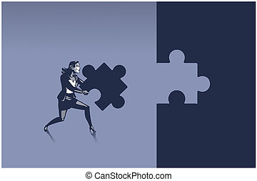 Business Woman Carrying Piece of Jigsaw Puzzle Ready to Place it Correctly Illustration Concept