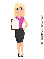 Business woman cartoon character. Cute blonde businesswoman...