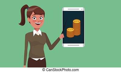 Business woman cartoon HD animation