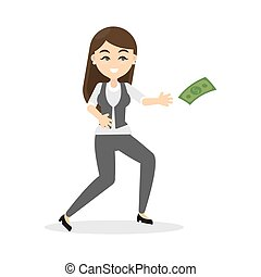 Business woman catches money.