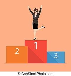 Business woman celebrates on winning podium