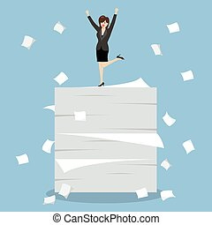 Business woman celebrating on a lot of documents