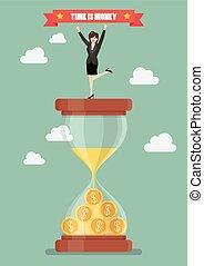 Business woman celebrating on a sandglass
