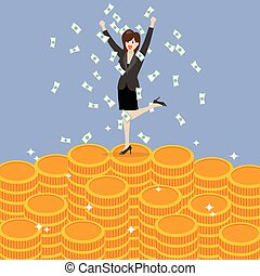Business woman celebrating on Money