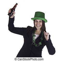 Business woman celebrating St. Patrick's Day