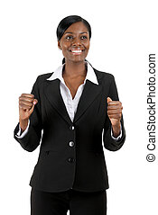 Business woman celebrating success