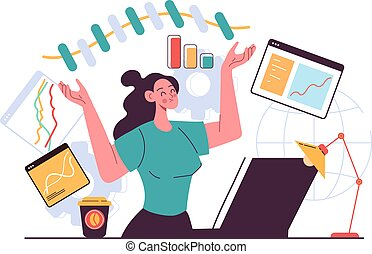 Business woman character office workers making infographic diagram chart idea project. Business strategy development concept. Vector flat graphic design illustration