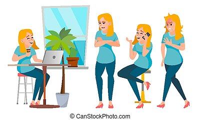 Business Woman Character Set Vector. Working People Set. Girl Boss In Action. Office, Creative Studio. Female Business Situation. Girl Programmer, Designer, Manager. Poses. Character Illustration