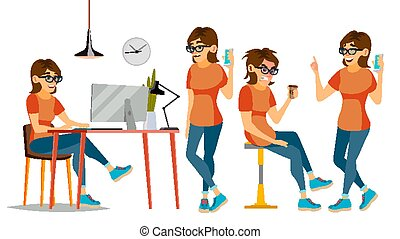 Business Woman Character Vector. Female In Different Poses. Clerk In Office Clothes. Designer, Manager. Cartoon Illustration