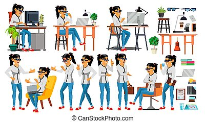 Business Woman Character Vector. Working Asian People Girl Set. Office, Creative Studio. Asiatic. Business Situation. Software Development. Programmer. Poses, Emotions. Cartoon Character Illustration