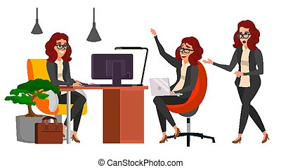 Business Woman Character Vector. Working Female, Girl. Team Room. Desk. Brainstorming. Businesswoman Working. Environment Process. Start Up Office. Effective Programmer Designer. Lifestyle Situations