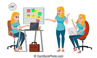 Business Woman Character Vector. Working Female, Girl. Team Room. Desk. Brainstorming. Environment Process. Start Up Office. Effective Programmer Designer. Lifestyle Situations. Character Illustration