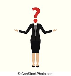 business woman character with question mark head