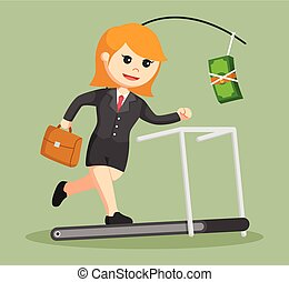 business woman chasing money on treadmill