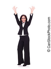 business woman cheering