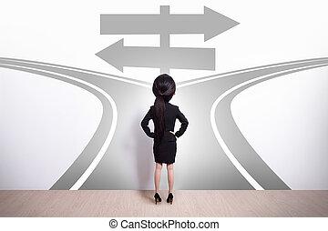business woman choice