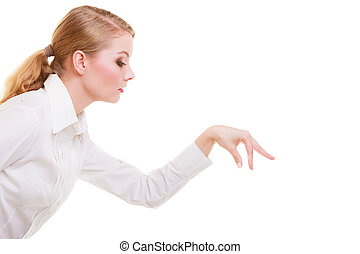 business woman choosing picking up make deccision isolated