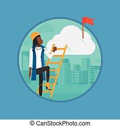 Business woman climbing the ladder.