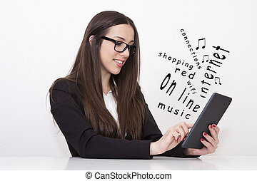 Business woman communicating with the tablet