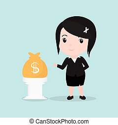 Business Woman concept by have money bag