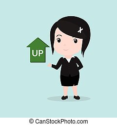 Business Woman concept by have up arrow