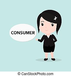 Business Woman concept by message is consumer