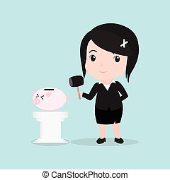 Business Woman concept by smash piggy bank