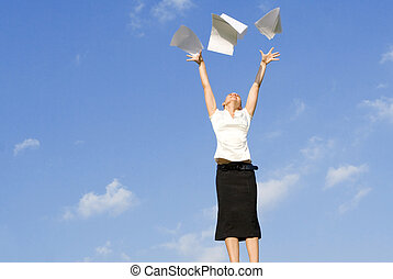 business woman concept, throwing papers in air