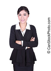 business woman confident smile standing isolated on white