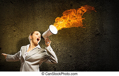 business woman cooks shouting into a megaphone