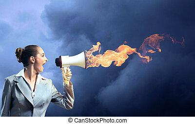 business woman cooks shouting into a megaphone, megaphone fire