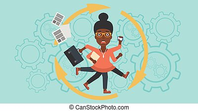 Business woman coping with multitasking. - An african-...