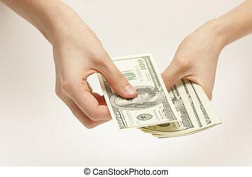 Business woman counts money