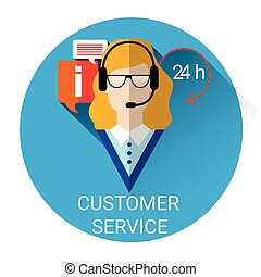 Business Woman Customer Consulting Support Service Icon