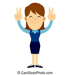Business Woman Doing Two Peace Hand Sign