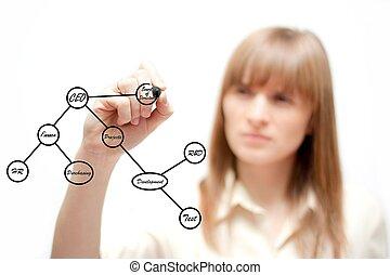 Business woman drawing a chart