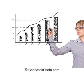 profit growth - Business woman drawing graph showing profit...
