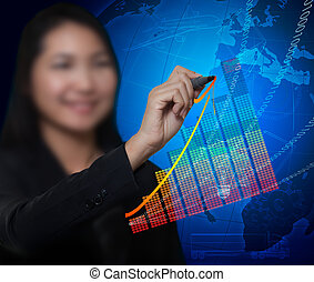 business woman drawing growth tend of business success and digital background