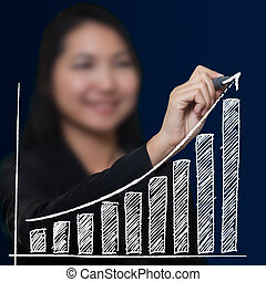Business woman drawing growthing arrow , Business success...