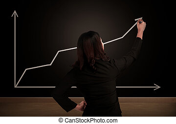 Business woman drawing increasing chart on the chalk board