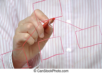 Business woman drawing organization chart with a pen