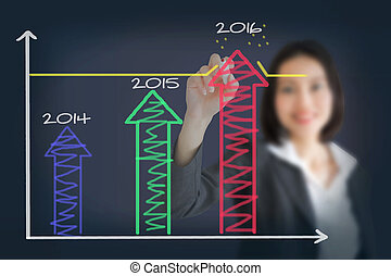 business woman drawing over target achievement graph