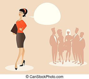 Business woman dressed in 50's or 60's clothes proud of her team. Cartoon style. Vector Illustration