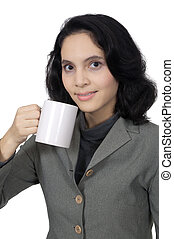 Business Woman Drink Coffee
